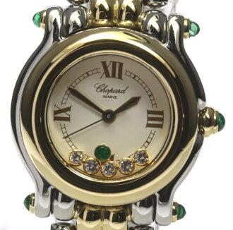 Beautiful article ★ ショパールハッピースポーツ 27/8278-22 5P diamond emerald QZ YG combination Lady's