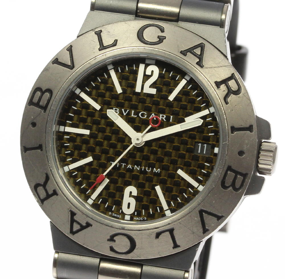 箱・保付【BVLGARI】ブルガリ ディアゴノ チタニウム TI38TA 自動巻き ラバー メンズ腕時計 ◆【171005】