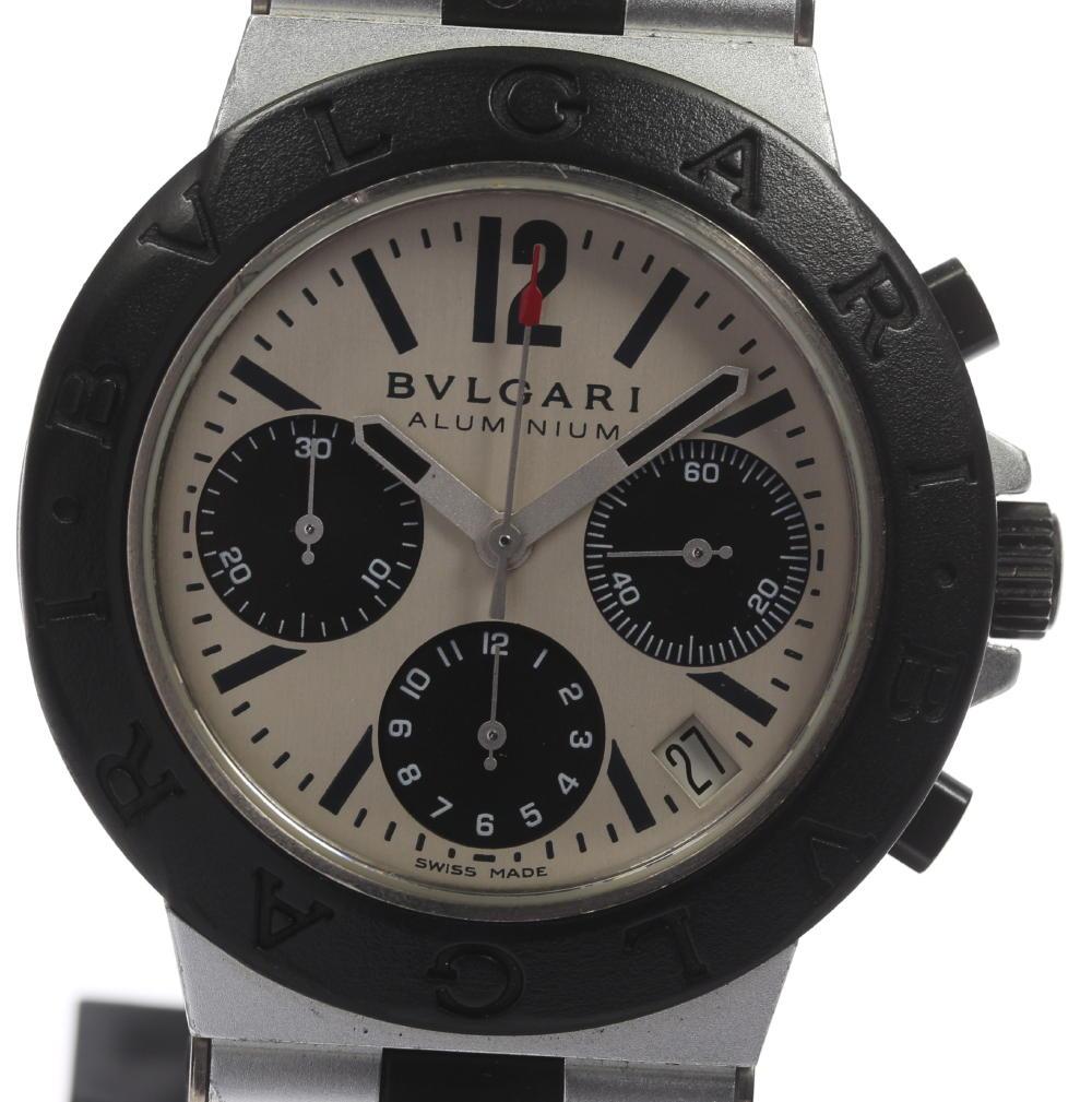 箱・保付 【BVLGARI】ブルガリ アルミニウム クロノグラフ AC38TA 自動巻き メンズ ◆【171005】