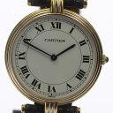 ジャンク品【Cartier】カルティエ スリーカラー K18YG 革ベルト クォーツ レディース【171005】