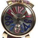 良品【GaGa MILANO】ガガミラノ マヌアーレ48 Ref.5011.09S シルバー文字盤 手巻き メンズ【171005】