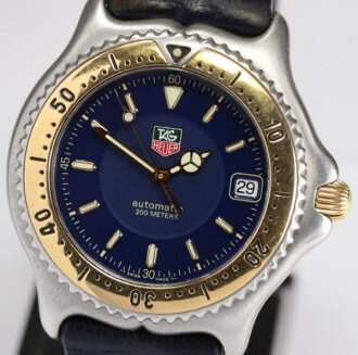 Tag ホイヤー WI2151-K0 YG bezel self-winding watch leather belt men★