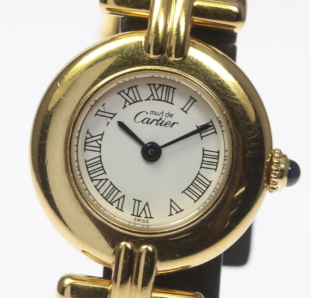 箱付☆【Cartier】カルティエ マストコリゼ SV925×革 白 QZ レディース腕時計◆【中古】