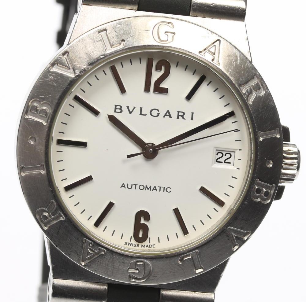 【BVLGARI】ブルガリ ディアゴノスポーツ LCV35S ホワイト文字盤 自動巻き メンズ 社外ベルト☆【中古】