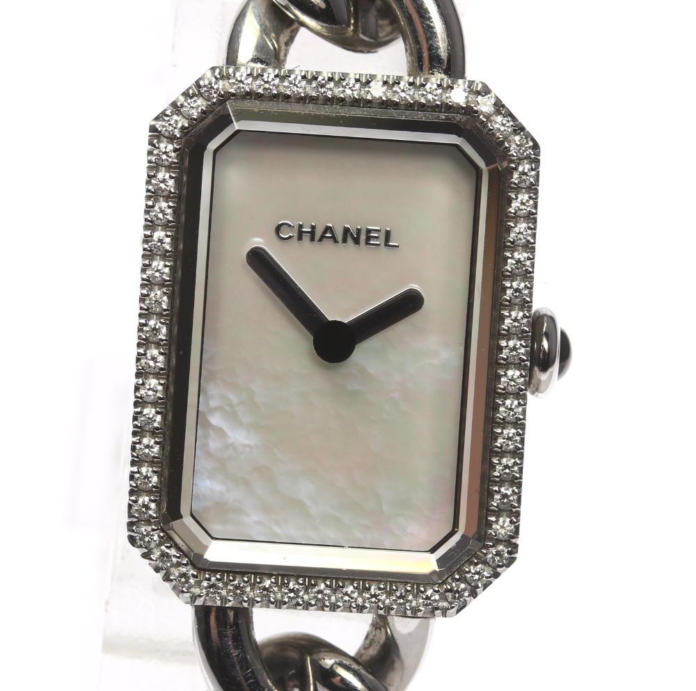 【CHANEL】シャネル プルミエール H3253 ダイヤベゼル ホワイトシェル QZ レディース【中古】【171224】
