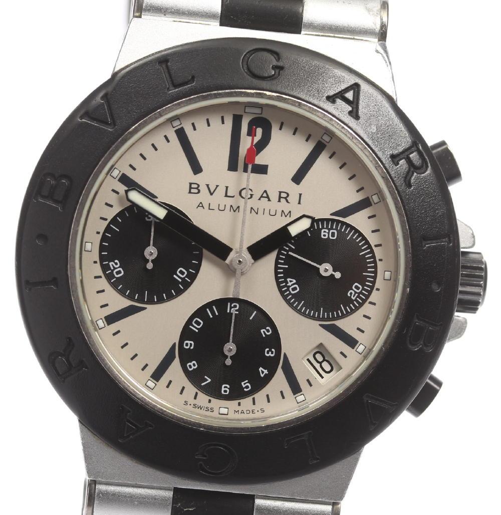 ※訳あり品【BVLGARI】ブルガリ アルミニウム クロノグラフ AC38TA 自動巻き メンズ【180215】【18052】【中古】