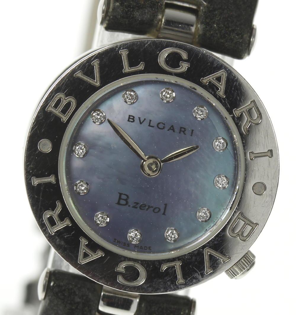※訳有品【BVLGARI】ブルガリ BZ22S B-zero1 12P ブルーシェル QZ 純正革ベルト レディース【180215】【18051】【中古】