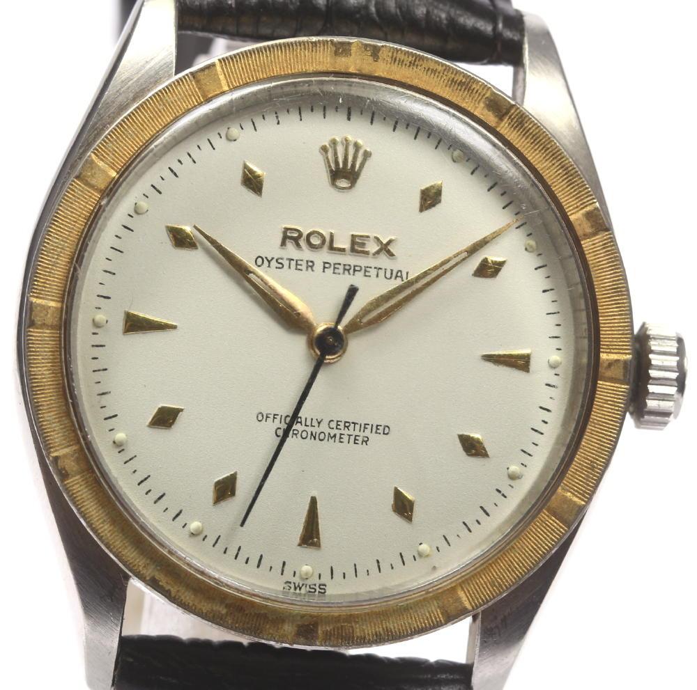 ※訳あり品【ROLEX】ロレックス 6303 オイスターパーペチュアル 革ベルト 手巻き メンズ【180215】