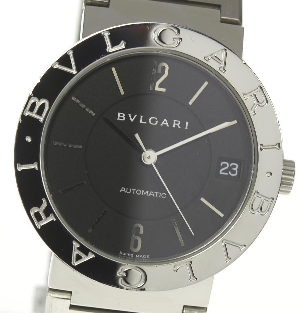 【BVLGARI】ブルガリ BB33SS ブルガリブルガリ 黒文字盤 自動巻き メンズ【180225】【18052】【中古】