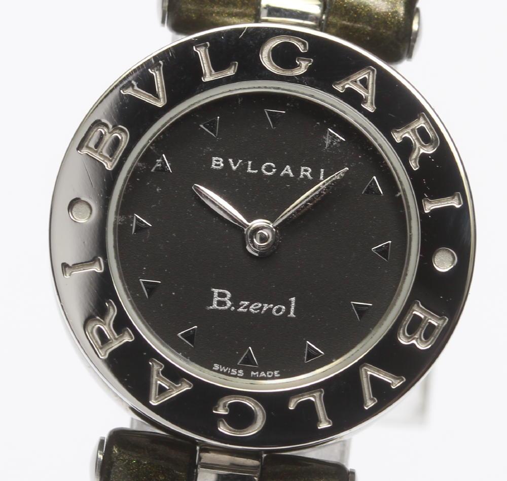 【BVLGARI】ブルガリ BZ22S B-zero1 ブラック文字盤 QZ 純正革ベルト レディース【180225】