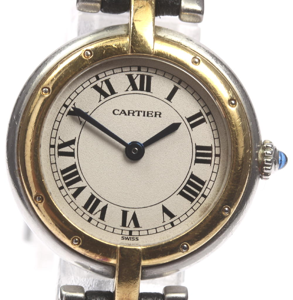 【CARTIER】カルティエ パンテールSM ラウンド 革ベルト クォーツ レディース【180329】【18052】【中古】