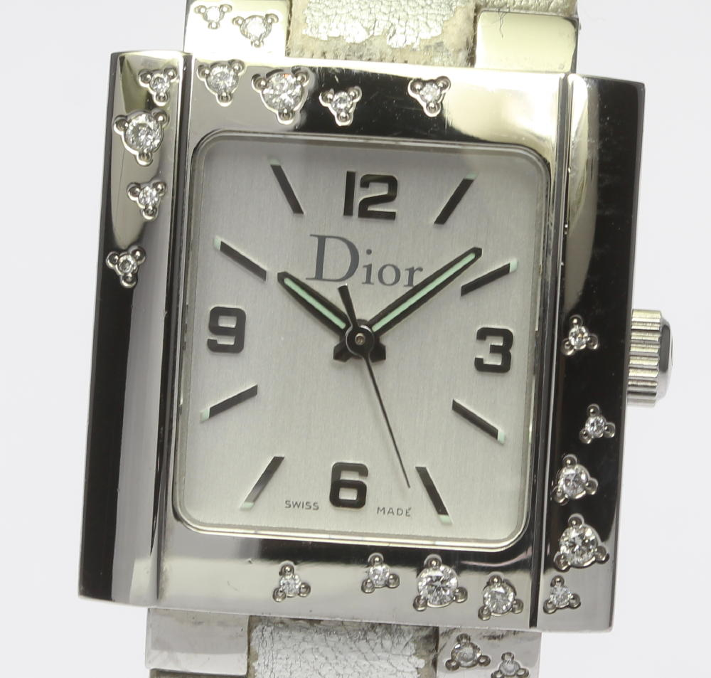 【Christian Dior】クリスチャン ディオール リヴァ ダイヤベゼル D98-1014 クォーツ レディース★【180413】【中古】