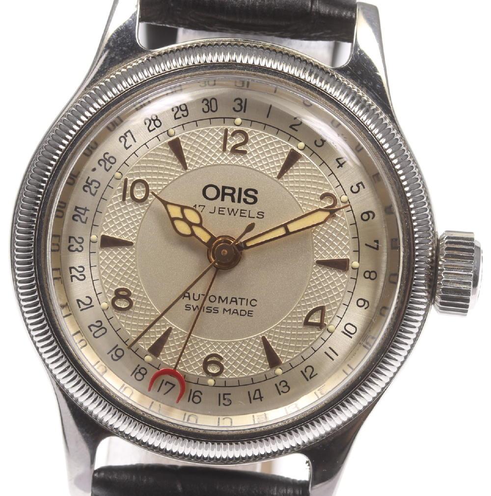 【ORIS】オリス 7400 ポインターデイト 自動巻き 裏スケ 社外革ベルト ボーイズ【180428】【中古】