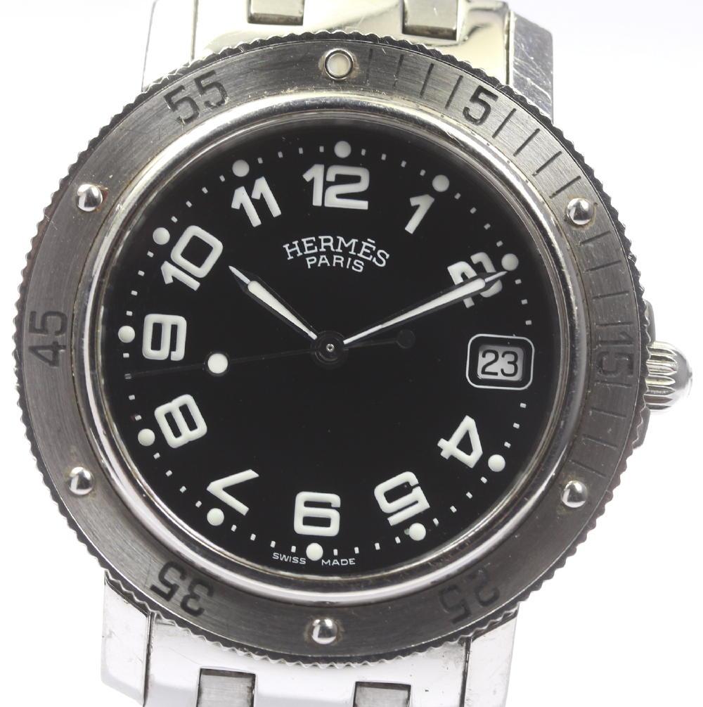 【HERMES】エルメス クリッパー ダイバー CL7.710 黒文字盤 クォーツ メンズ腕時計◆【180428】【中古】