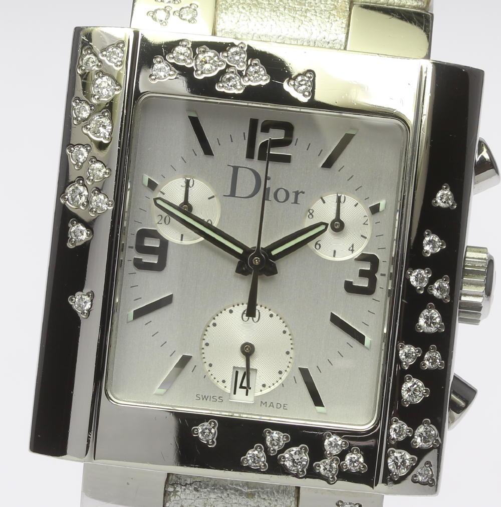 【Dior】ディオール リヴァ D81-101 クロノグラフ QZ 純正革ベルト レディース【180428】【中古】