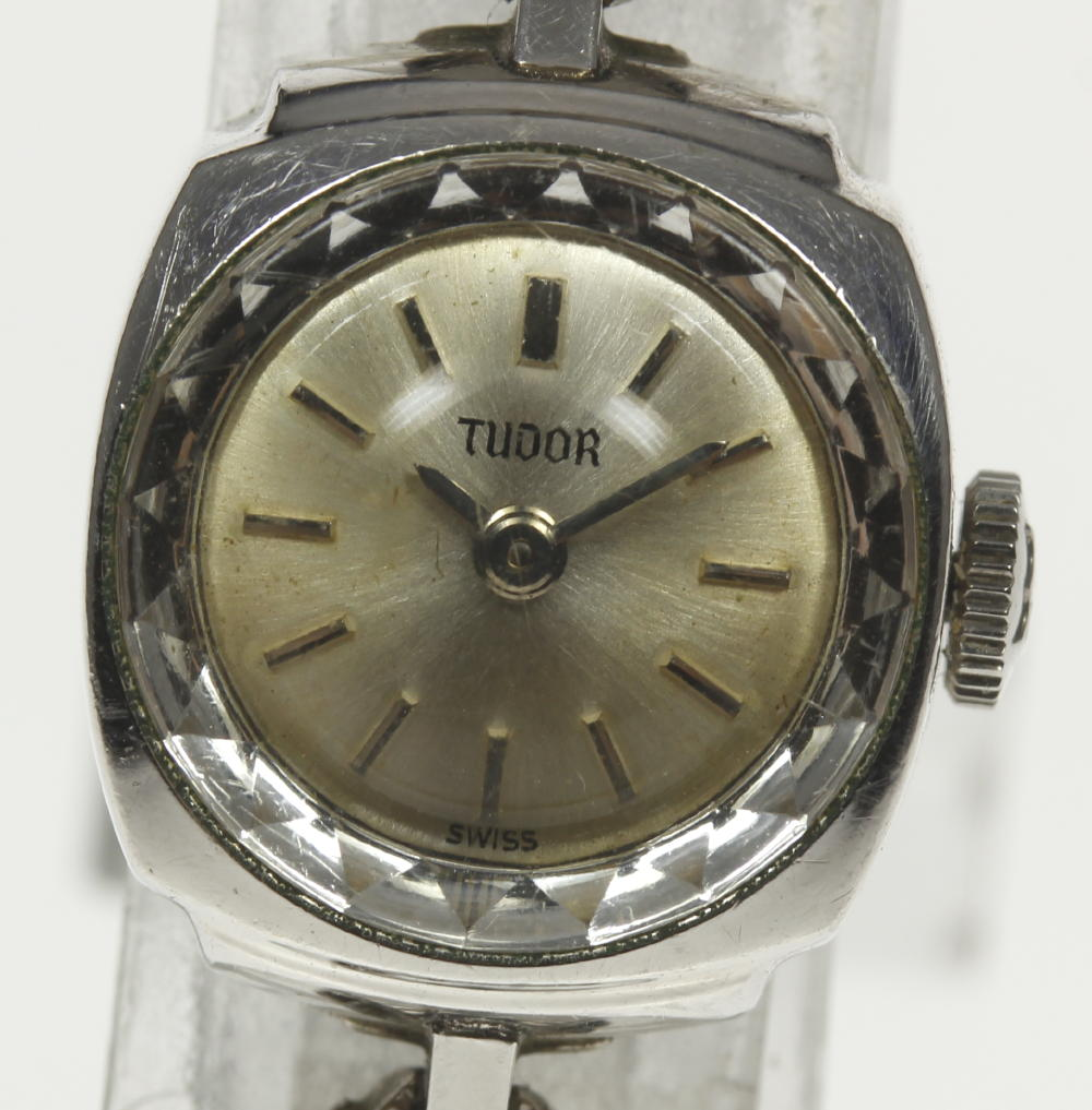 【TUDOR】チュードル カットガラス cal,6630 シルバー文字盤 手巻き レディース【180518】【中古】