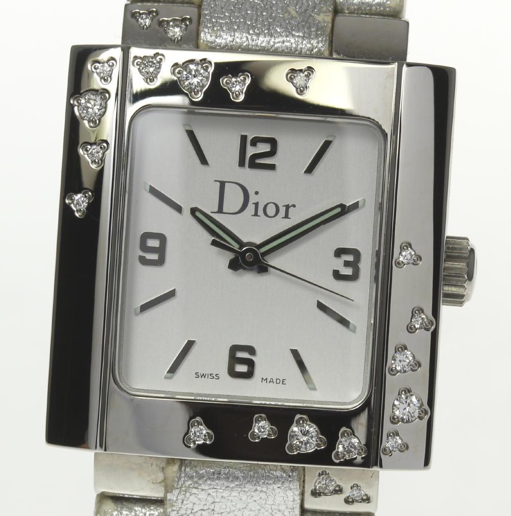 【Dior】ディオール D98-1014 リヴァ QZ ダイヤ 純正革ベルト レディース★箱・保【180518】【中古】