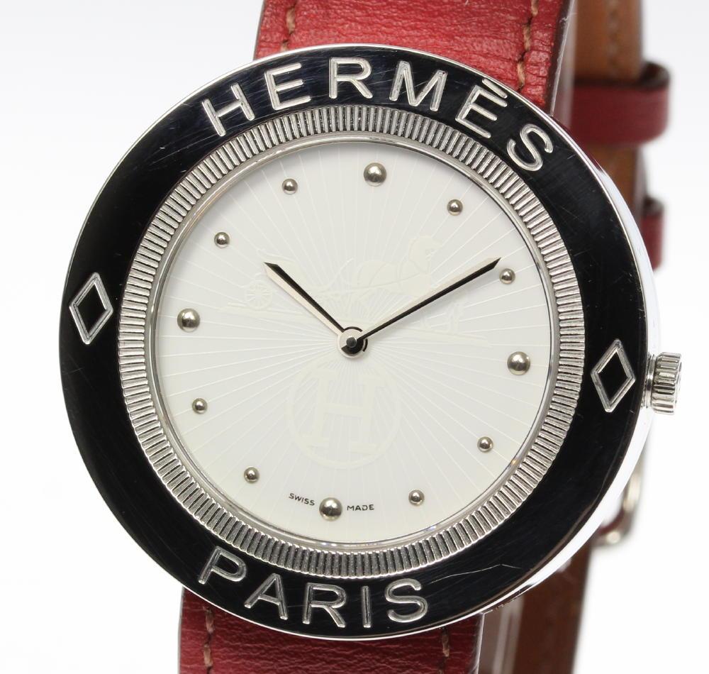 【HERMES】エルメス パスパス PP1.610 純正革ベルト クォーツ メンズ【180518】【中古】