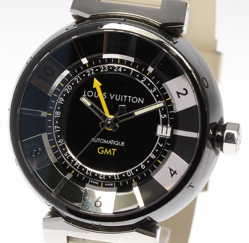 ※ブレス訳有品【LOUIS VUITTON】ルイ・ヴィトン タンブールインブラック GMT Q113K 自動巻き ラバーベルト メンズ【中古】