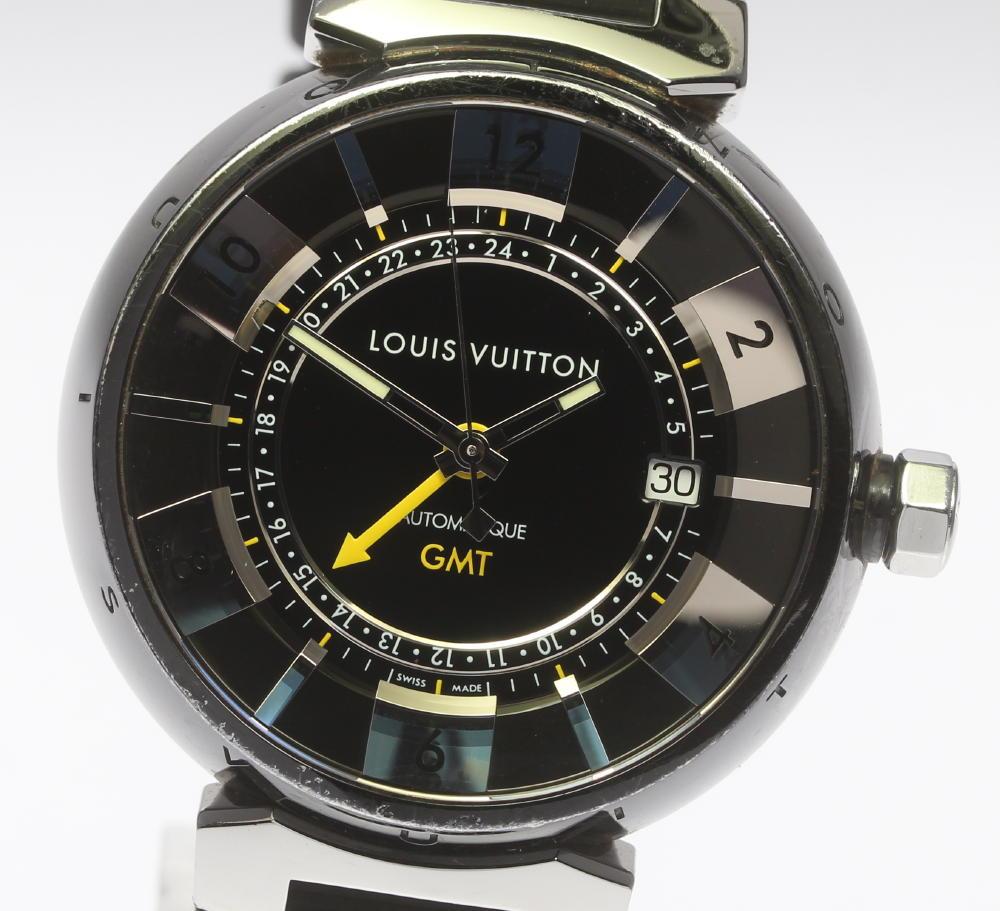 【LOUIS VUITTON】ルイ・ヴィトン タンブールインブラック GMT Q113K 自動巻き ラバーベルト メンズ【中古】