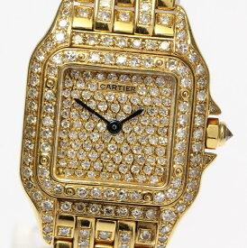 【Cartier】カルティエ パンテールSM K18YG 全面アフターダイヤモンド クォーツ レディース★【event10】