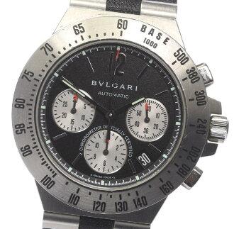 Guarantee memo ブルガリディアゴノタキメトリック CH40STA chronograph self-winding watch leather belt men
