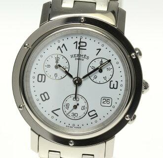 ★Quality goods ★ 箱保付 Hermes clipper Kurono CL1 .910 white clockface QZ men