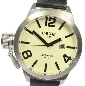 ★良品★箱・保【U-BOAT】ユーボート レフトフック B45-08 QZ 革ベルト メンズ【中古】