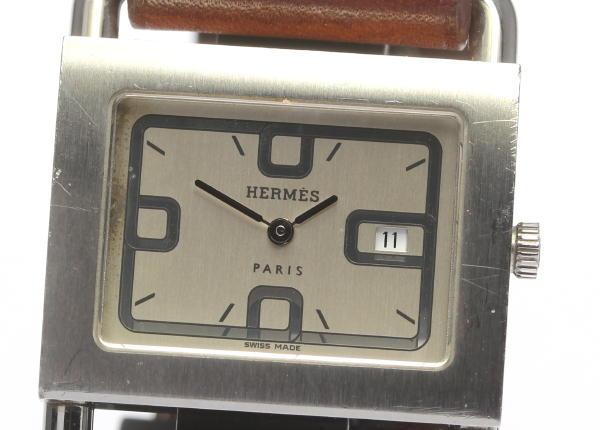 HERMES★エルメス バレニア BA1.510 SS/革 クォーツ レディース【17095】【中古】