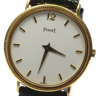 Piaget K18YG 80,231 rounds quartz outside a company building leather belt men