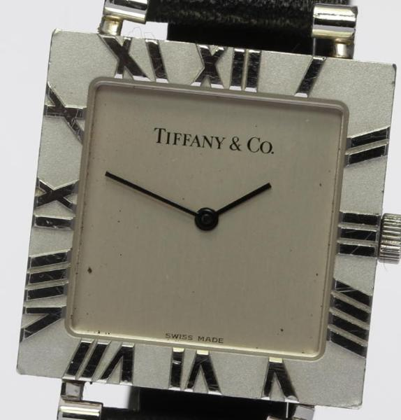 【TIFFANY&Co.】ティファニー アトラス M3640 スクエア SV925 QZ 社外革ベルト メンズ【中古】
