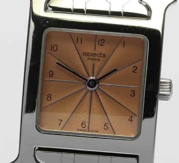 美品☆ エルメス Hウォッチ HH1.210 ドゥブルトゥール革ベルト付 ピンクサーモン文字盤 ブレス QZ レディース腕時計【中古】