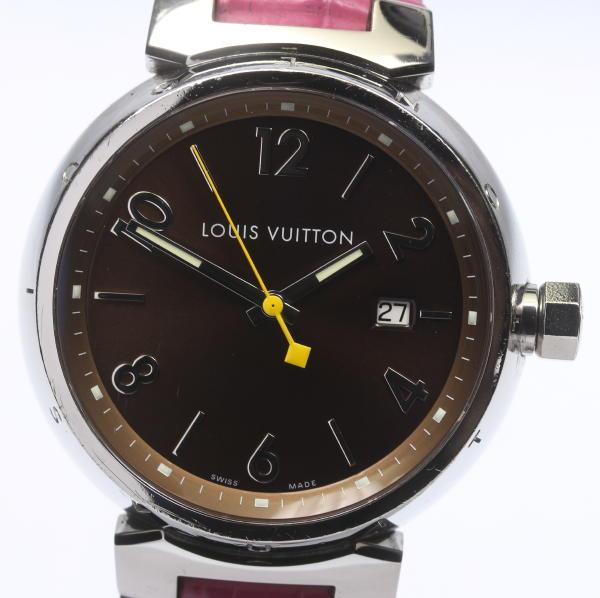 【LOUIS VUITTON】 ルイ・ヴィトン タンブール Q1111 クォーツ 革ベルト メンズ【中古】【event】