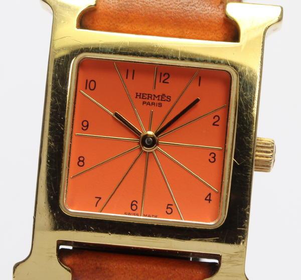 【HERMES】エルメス Hウォッチ HH1.210 オレンジ 純正革ベルト クォーツ レディース【中古】【170604】
