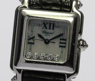 ショパールハッピースポーツ K18WG 27/6850-20 white shell 5P diamond quartz Lady's watch ◆