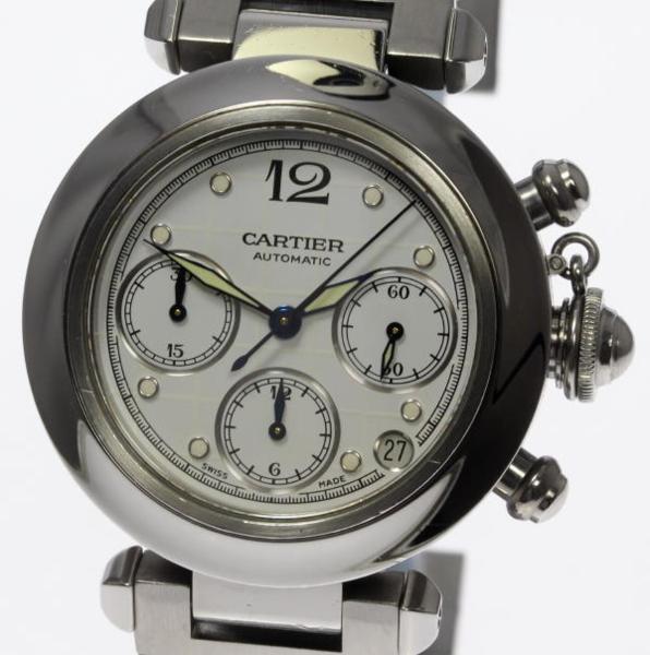 ※訳有品 保証書付き【Cartier】カルティエ パシャC クロノグラフ 自動巻き メンズ SSブレス☆【170704】【17103】【18052】【中古】