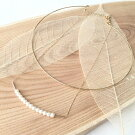 ミニパール2連ネックレス真鍮素材韓国ハンドメイドジュエリーゴールド上品結婚式二次会会食デートコンサートフォーマルからカジュアルまで【ゆうメールで送料無料】