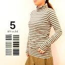 【40%OFF】【メール便無料】FIVE ファイブ(アンドエヌ &N)ボーダータートルTシャツ144237(コットン レーヨン レディース)
