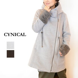 4b6fd315cfc0 【送料無料】CYNICAL(シニカル)シャギー×ボアフードコート85294004(コート フード