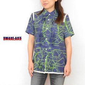 【送料無料】SWANLAKE(スワンレイク)print blouse BL-1166「プリント プリーツ ブラウス布帛レディース]