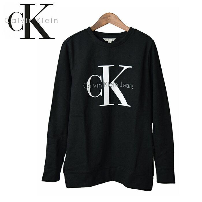 【送料無料】 Calvin Klein Jeans カルバンクライン ジーンズ レディース ロゴ スウェットシャツ Reissue Logo Sweatshirt/クラシックロゴ プリント クルーネック 長袖トレーナー 女性用 ブラック 黒 42MK978
