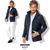 グレンチェック・イタリアンカラー・ジャケット・コート・メンズ・秋・冬・ファッション