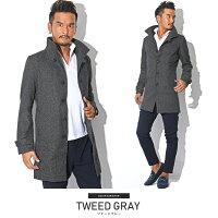 ウインドペン・チェック・イタリアンカラー・コート・メンズ・ファッション・アウター・冬・BITTER