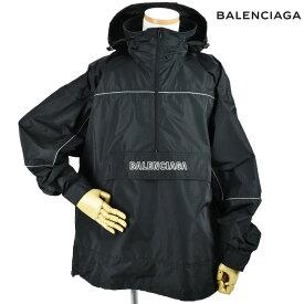 バレンシアガ BALENCIAGA 556229 TYD33/1000 JACKET BLACK アノラックパーカー ブルゾン ナイロンパーカー ウィンドブレーカー ブラック 黒 メンズ【送料無料】