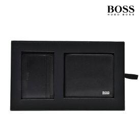 ヒューゴボス HUGOBOSS 50402710 001 WALLET/CARDCASE GIFTBOX BLACK 二つ折り財布 カードケース パスケース 2点セット ギフトボックス ブラック 黒 メンズ 【送料無料】