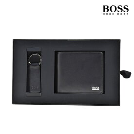 ヒューゴボス HUGOBOSS 50402735 001 WALLET/KEYHOLDER GIFTBOX BLACK 二つ折り財布 キーホルダー キーリング 2点セット ギフトボックス ブラック 黒 メンズ【送料無料】
