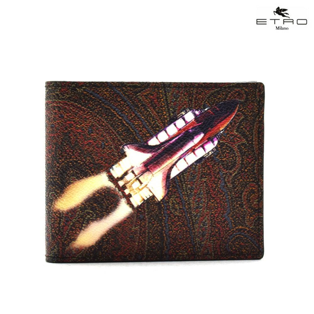 エトロ ETRO 1F557 2401/600 二つ折り財布 ロケットモチーフ ブラウン メンズ 【送料無料】