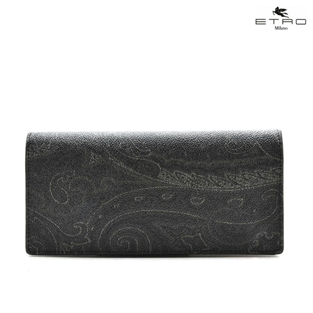 エトロ ETRO 1H298 8249/1 二つ折り長財布 ブラック 黒 BLACK メンズ 【送料無料】
