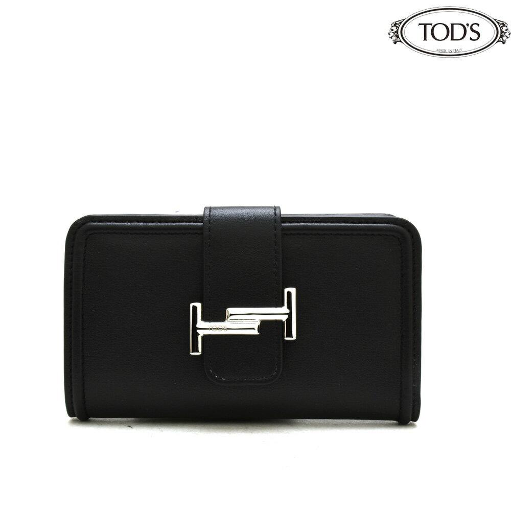 トッズ TODS XAWDSSBL300RLX/B999 二つ折り財布 コンパクトウォレット ブラック 黒 BLACK レディース 【送料無料】[aac]