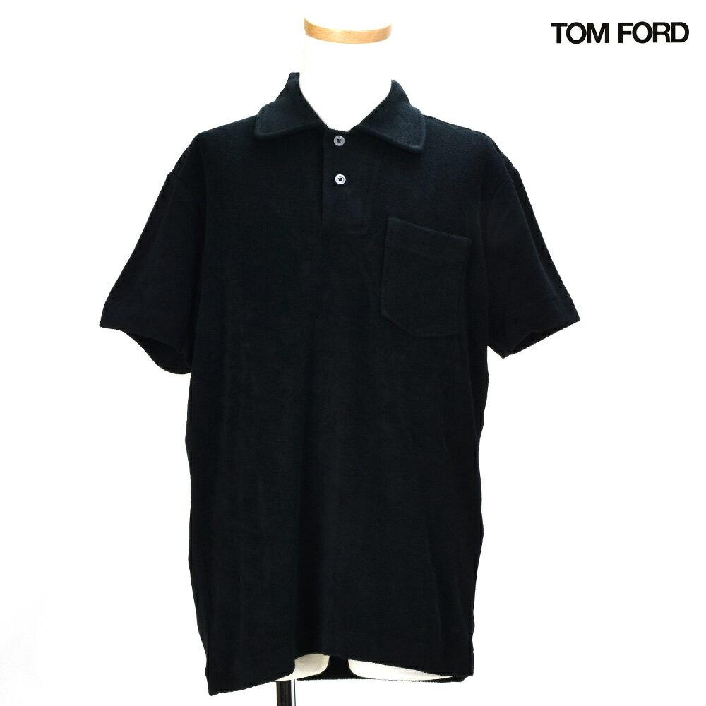 トムフォード TOM FORD BP385TFJ887/K09POLO-SHIRT BLACK チェストポケット ポロシャツ パイル地 トップス 半袖 ブラック 黒 メンズ 【送料無料】